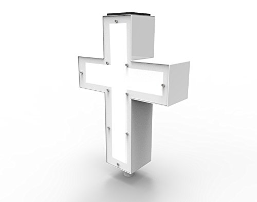 FixtureDisplays Solar Lighted Cross Powered by God's Sunlight - Perfect Cemetery, Grave, or Home Memorial Decoration for Your Loved One 21153-FBA