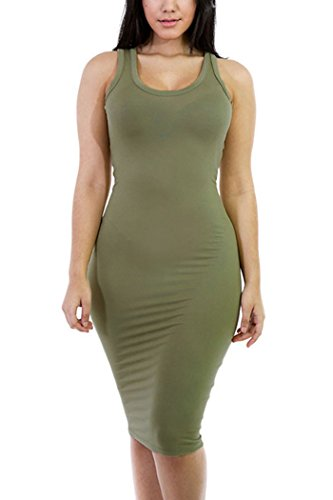 WIWIQS Women Curve Stretchy Wear to Work Bodycon Evening Midi Dress X-Large Army Green