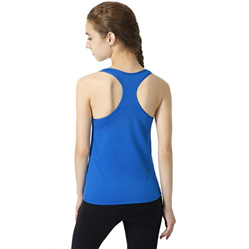 Deeoutlife Women's Workout Yoga Racerback Tank Tops Activewear Running Athletic Shirts Sleeveless (Royal Blue, Large)