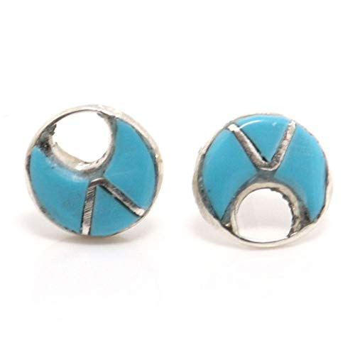- Turquoise Inlaid Sterling Silver Post Earrings by Seowtewa