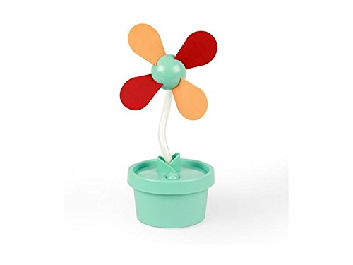 ATTOUPAN Portatile USB Cartoon Mini ventilatore portatile Fan studente dormitorio Lovely Desk Fan Flower Pot Fan (verde)