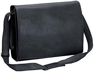36d44ea55783 Natico 60-6094-BK New Yorker Leather Computer Messenger Bag, Black ...