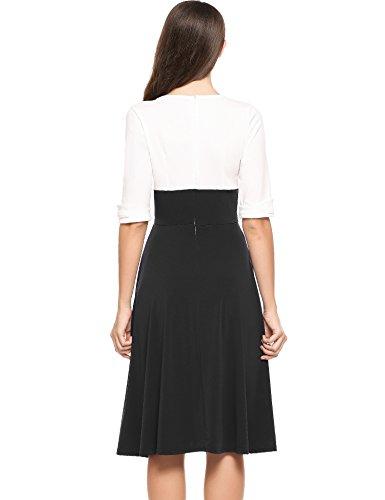 Sleeve Women's Black Casual Party Dress Vintage Neck V Patchwork Swing Dress GEESENSS Half SAw8n71n
