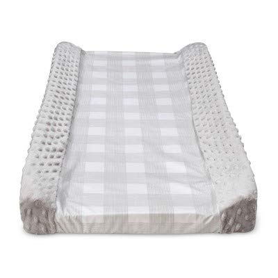 Wipeable Changing Pad Cover with Plush Sides Checkered - Cloud Island153; Gray Gray