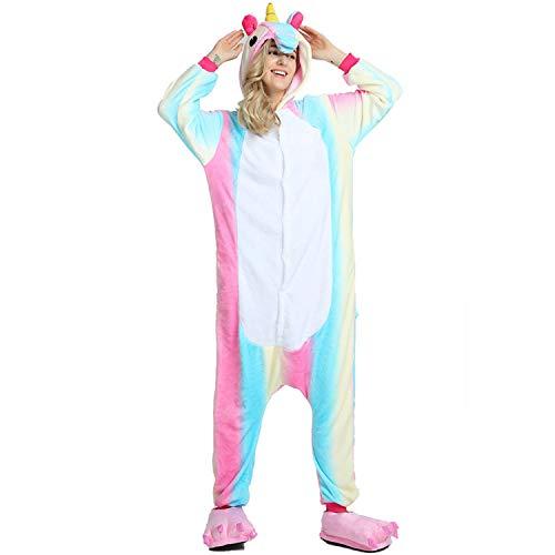 NOUSION Licorne Unisex Adult Pajamas, Cosplay Christmas Unicorn Sleepwear Onesies Outfit (M, Blue Rainbown)]()