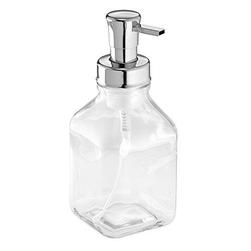 Interdesign Cora Glass Foaming Soap Dispenser Pump For Kitchen Or Bathroom Sinks Clear Chrome