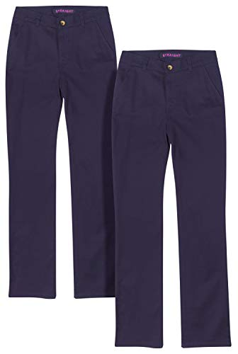 French Toast Junior Girls' School Uniform Stretch Straight Leg Twill Pants (2 Pack), Navy, Size 5'