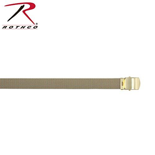 (Rothco Nylon Web Belt with Brass Buckle, Khaki, 54'')