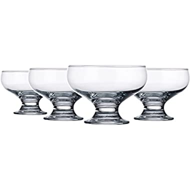 Palais Glassware® High Quality Clear Glass 8 Ounce Dessert Ice Cream Bowls, Set of 4