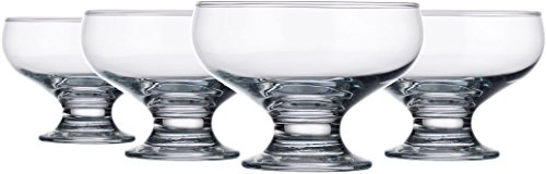 Palais Glassware Clear Glass 8 Ounce Dessert Ice Cream Bowls (Set of 4 Classic Bowls)