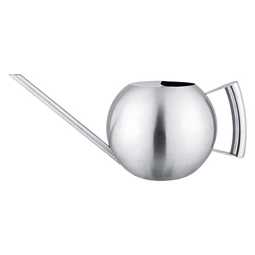 Stainless Steel Watering Can,Modern Style 1000mL Long Mouth Round Sprinkling Pot Gardening Tools for Houseplant Patio Plants by Zerone