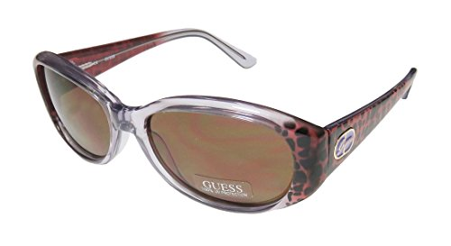 Guess 7220 Womens/Ladies Designer Full-rim 100% UVA & UVB Lenses Sunglasses/Shades (59-16-140, Transparent Lavender / Red Cheetah - Print Frames Glasses Cheetah