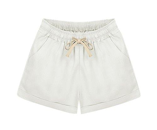 Corta Solido Pantaloncini Bianca Pantaloni Shorts Moda Elegante Taglie Larghi Coulisse Donna Grazioso Casuali Estivi Woman Forti qwgSnRUSO