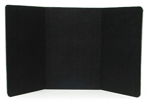 Black Presentation Board - Displays2go 72 x 36 Inches 3-Panel Tabletop Display Presentation Board, No Plastic Edging - Black Velcro-Receptive Fabric (3PTTBLACK)