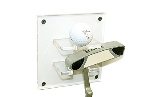 Better Display Cases Deluxe Clear Acrylic Golf Ball and Putter Combo Wall Mount Bracket (A054-G) (Single Ball Golf Display)