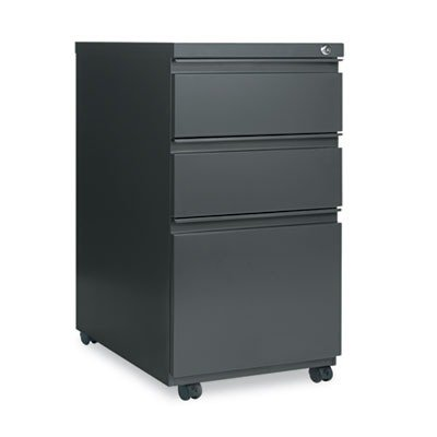 Alera PB532823CH Three-Drawer Mobile Ped File w/Full-Length Pull, 15w x23d, Charcoal, Office Central