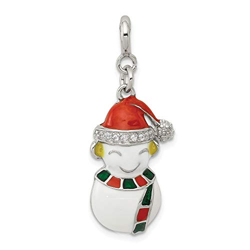(Jewelry Pendants & Charms Themed Charms Sterling Silver CZ and Enameled Snowman)