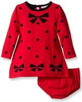 Hartstrings Baby Girls' Intarsia Bow Dot Pattern Sweater Dress Diaper Cover Set, Christmas Red, 12 Months (Hartstrings Cotton Dress)