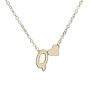 Love English Alphabet Simple Necklace Lollyeca Fashion Women Cute Heart Letter Choker Chain Pendant Lady Necklace Jewelry (Q)