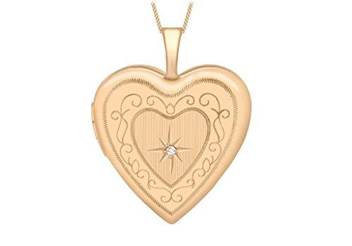 """Diamant Or Rouge 9ct médaillon coeur gravé sur Chaîne 46cm/18"""""""