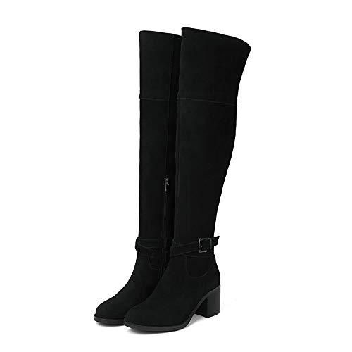 HAOLIEQUAN Frauen Über Die Stiefel Mode Wildleder Square High Heel Runder Reißverschluss Fester Größe 34-39
