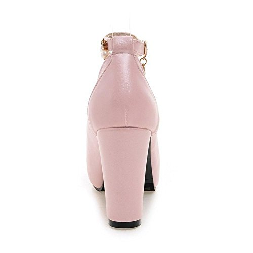 Pink Heel Strap Ankle TAOFFEN Women's 63 Shoes Court Party High xATwSRq