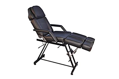 Barberpub 70'' Black Beauty Bed Salon SPA Facial Tattoo Chair Adjustable Massage Table 6154-0017BK