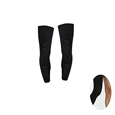 Adult Knee Pads Long Compression Leg Sleeves Braces Leg Knee Long Sleeve Protector with Crashproof Pad for Basketball Volleyball Football and All Contact Sports Black M 1PC: Toys & Games