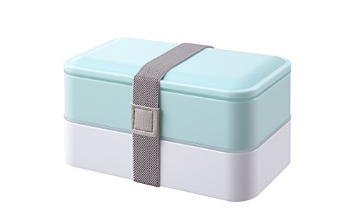 (PuTwo Bento Box 2 Tiers Bento Lunch Box Lunch Boxes with Reusable Cutlery Japanese Style for Microwave Freezer Dishwasher Bento Boxes for Kids Adults Work School - Pastel Blue )