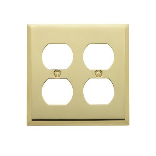 Baldwin 4771.030.CD Classic Square Beveled Edge Double Duplex Switch Plate, Polished Brass - Lacquered - Cover Solid Brass Switchplate