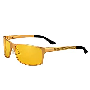 SOXICK Mens Night Vision Glasses Polarized Driving Safety Glasses(Gold)