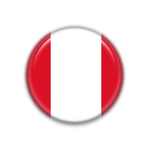 Peru : Bandera Nacional, Pinback Button Badge 1.50 Inch (38mm)