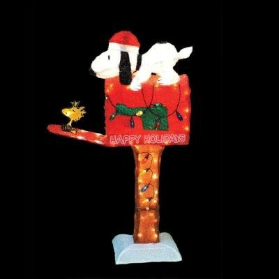 Peanuts Snoopy and Woodstock on Mailbox 45'' Animated Pre-lit Yard Art by Peanuts (Image #1)