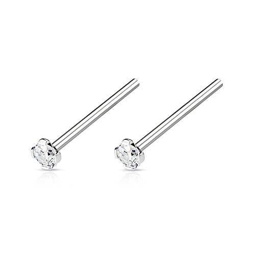 Set of Two 2mm Prong Set CZ Crystal Top Fish Tail Nose Ring - Available in Multiple Sizes (20GA / 12mm (1/2