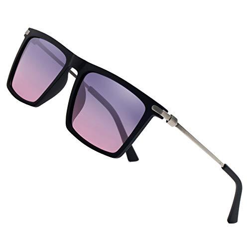 LEIMI Mens Polarized Sunglasses Vintage Rectangular Driving Fishing Sun Glasses for Men UV Protection 8823 (gradient purple + pink, ()