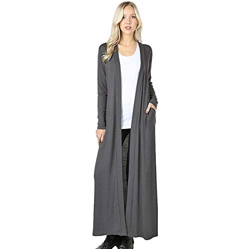 Women Full Length Cardigan,Cenglings Casual Open Front Solid Long Sleeve Pocket Coat Ankle Length Long Jacket Gray