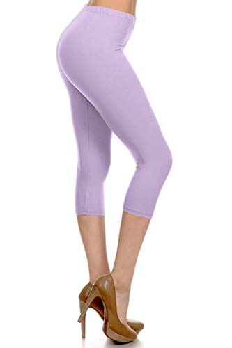 NCPR128-LAVENDER Capri Solid Leggings, One Size