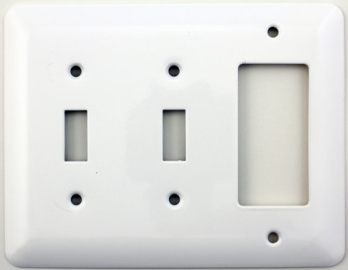 Mulberry Princess Style White Three Gang Combination Switch Plate - Two Toggle Light Switch Openings One GFI/Rocker - Fiori 2 Light