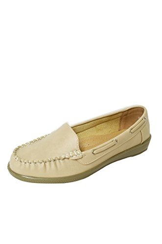 Women Soft Faux Leather Moccasin Loafer Slip On Shoes (Vivi-01) Beige YRWG10