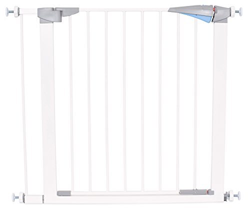 Internet's Best Safety Pet Gate with Door | Fits Spaces 31 to 37.5 Inch | Medium | Metal Walk Through Safety Gate | Double Locking Swing Door | White