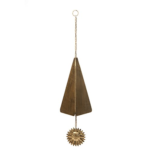Hosley Antique Gold Finish Triangle Wind Chime, Large 9.75