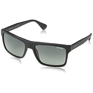 Prada Men's 0PR 01SS Brushed Matte Black/Light Grey Gradient Dark Grey