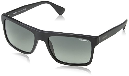 Prada Men's 0PR 01SS Brushed Matte Black/Light Grey Gradient Dark - Black Sunglasses Matte Prada