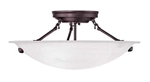 Livex Bronze Flush Mount Light Fixture (Livex Lighting 4273-07 Oasis 3-Light Ceiling Mount, Bronze)