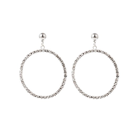 XMZB Hoop Earrings Round Circle Dangle Drop Stud Earrings Alloy with Rhinestone for Women Girls,Silver -