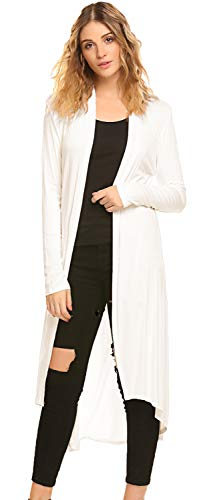 Soft Long Cardigan - POGTMM Women's Long Open Front Drape Lightweight Duster High Low Hem Maxi Long Sleeve Cardigan with Pocket(S-3XL) (Ivory White, US S (4-6))