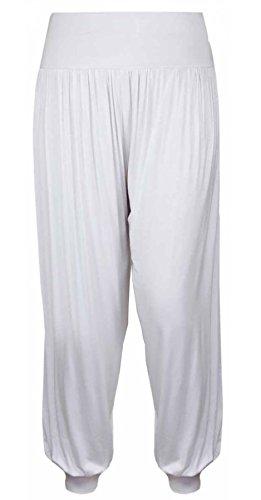 Elasticizzato Piena Da Donna Forti Pantaloni 26 12 Taglie Formati Casual Lunghezza Harem Donna Pantaloni White nd8SS0rw1q