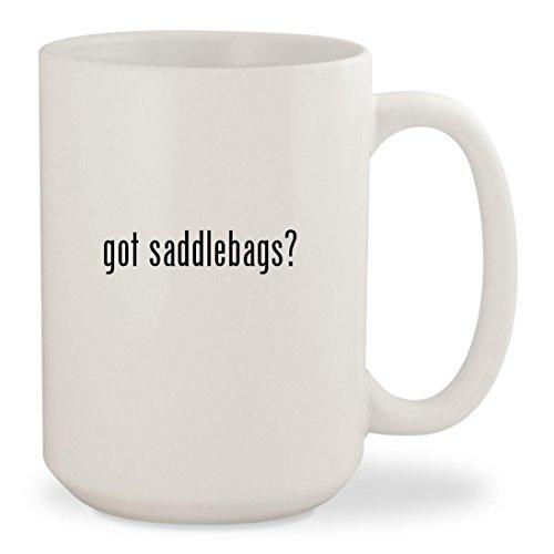 Corbin Leather Saddle (got saddlebags? - White 15oz Ceramic Coffee Mug Cup)