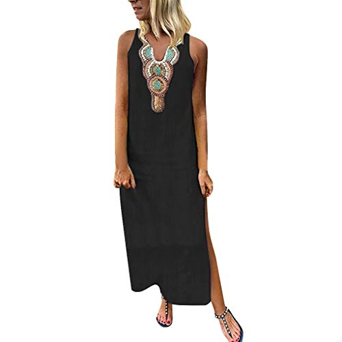 - PENGYGY Woman Printed Sleeveless Skirt Casual V-Neck Maxi Dress Ladies Split Hem Baggy Long Dress Black