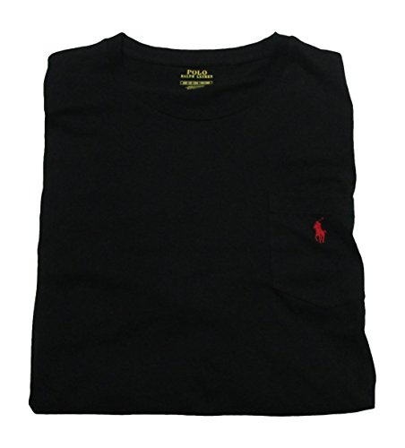 (Polo Ralph Lauren Mens' Big and Tall T-Shirt Jersey Crew Neck Pocket T-Shirt (4XB, Polo Black/Red Pony))